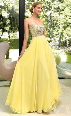 Vestidos de fiesta de color amarillo con pedreria