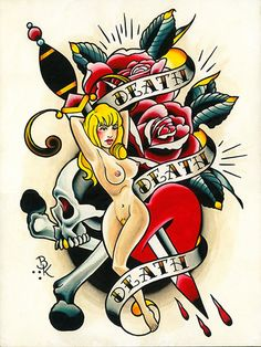 Death Death Death by Brian Kelly Skull Nude Tattoo Design Canvas Print – moodswingsonthenet Traditional Tattoo Artwork, Berg Tattoo, Tattoo Shop, Tattoo Designs, Tattoo Ideas, Canvas Art Prints, Fine Art Prints, Rolled Paper Art, Heart Coloring Pages