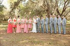 bridesmaids- I like the coral long dresses