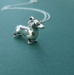 sterling silver dachshund necklace gift for by cravejewelrydesign, $28.00