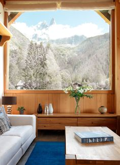 A window with a view ..     The peak of Les Drus seen out of the window of Chalet Cerisier in Chamonix, France