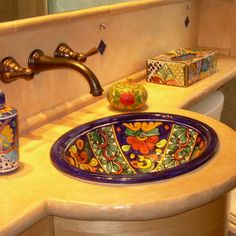 rustic composite countertop in Mexican style bath - eclectic - bathroom - chicago - New Leaf Interiors