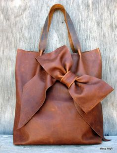 Brown Leather Bow Tote Bag