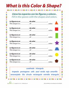 Worksheets Learning Spanish Worksheets pinterest the worlds catalog of ideas worksheets colors and shapes in spanish