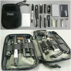 Felt that the previous EDC Organiser was too bulky and heavy, so I got items that are smaller and lighter. This revised kit is now much more convenient to carry around. Now I'll just wait to get a Benchmade Mini Griptilian or a Mini Presidio in black and Survival Prepping, Emergency Preparedness, Survival Gear, Survival Skills, Survival Backpack, Survival Stuff, Survival Equipment, Wilderness Survival, Urban Edc