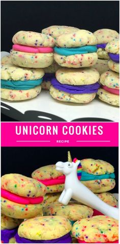 Easy Unicorn Cookies With A Cake Mix + Unicorn Party Food & Craft Ideas  These are also know as funfetti whoopie pie cookies