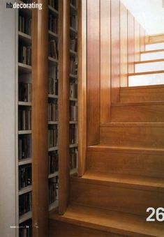 Shelves in the walls of stairs....Genius!