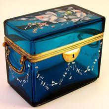 Antique Bohemian Blue Cut Glass Raised Enamel Jewelry Box, Sugar Casket