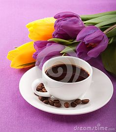 Flowers And Coffee Royalty Free Stock Photography - Image: 28871707