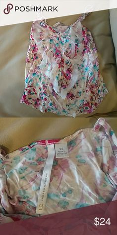 Lauren Conrad tank top White with pink and blue designs Reasonable offers accepted :) Tops Tank Tops