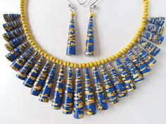Paper bead necklace & earring set - Bright blue and yellow paper jewelry set by Paperica on Etsy