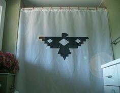 Shower Curtain native eagle design thunderbird legend art  America bath. $58.00, via Etsy.