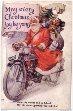 Traditional Father Christmas | Father Christmas on his bike delivering presents - Delcampe.net