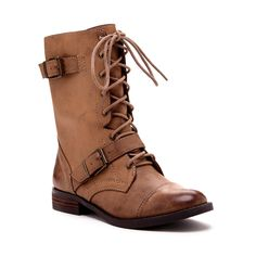 Women's Dark Camel Faux Leather 1 Inch Buckle Combat Boot | Nessie by Sole Society