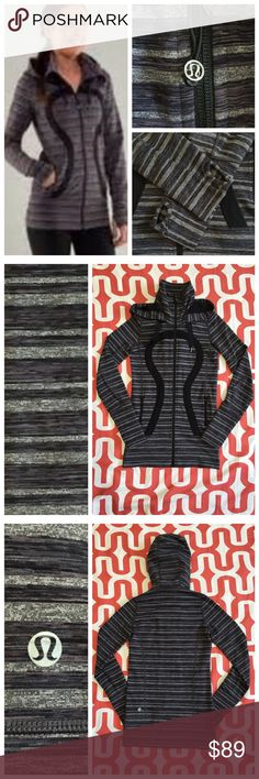 Lululemon Stride Jacket Black Stripes Galore. Excellent preloved condition. Light weight & long. Luon. Thumbholes. Hood. Zippered pockets. No trades. No PayPal. lululemon athletica Jackets & Coats
