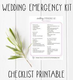 Wedding Emergency Kit Checklist Printable