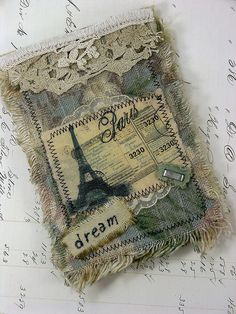Fabric Collage Notebook Paris by Shabby Cottage Studio, via Flickr