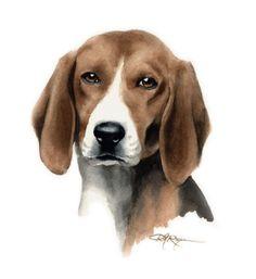 ENGLISH FOXHOUND Dog Art Print Signed by Artist DJ by k9artgallery