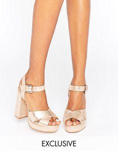 Office | Office Smile Rose Gold Leather Platform Heeled Sandals