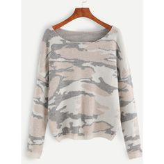 SheIn(sheinside) Multicolor Camo Pattern Drop Shoulder Sweater (151495 PYG) ❤ liked on Polyvore featuring tops, sweaters, long sleeve pullover sweater, oversized pullover, long sleeve pullover, oversized sweaters and pullover sweaters