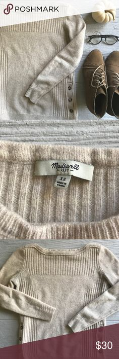 Madewell Pinewood Sweater 100% soft merino wool boatneck sweater with buttons on sides. Oatmeal/beige color. In great condition! 17 inch bust and 22 inches long. Madewell Sweaters Crew & Scoop Necks