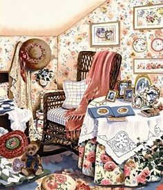 """Susan Rios Handsigned and Numbered Limited Edition Hand-Pulled Serigraph on Paper: """"Attic Memories"""" Anime Comics, Cottage Art, Storybook Cottage, Art Themes, Beautiful Paintings, Cat Art, Art Pictures, Home Art, Decoration"""