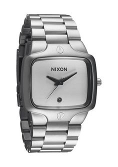 Nixon - The Player in Sanded Steel /  White - $175