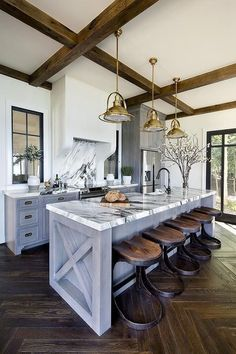 Supreme Kitchen Remodeling Choosing Your New Kitchen Countertops Ideas. Mind Blowing Kitchen Remodeling Choosing Your New Kitchen Countertops Ideas. Modern Farmhouse Kitchens, Farmhouse Kitchen Decor, Home Decor Kitchen, Interior Design Kitchen, New Kitchen, Kitchen Island, Kitchen Ideas, White Wash Cabinets Kitchen, Dark Kitchen Countertops