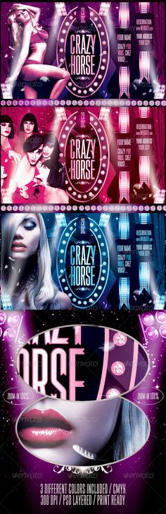 Crazy Horse Flyer Template / $6. *** This flyer is perfect for the promotion of Cabarets Shows, Musicals, Theaters, Spectacles, Club Parties or whatever you want!.***