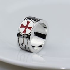 Assassins Creed Stainless Steel Templar Ring - Red Cross Assassins Creed