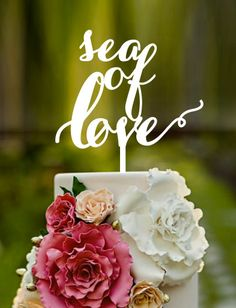 sea of love wedding cake toppernames on cake by CommunicakeIt