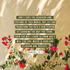 """""""Don't copy the behavior and customs of this world, but let God transform you into a new person by changing the way you think. Then you will learn to know God's will for you, which is good and pleasing and perfect."""" -Romans 12:2"""