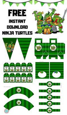 Free-Teenage-Mutant-Ninja-Turtles-Party-Printable Source by Ninja Turtle Party, Ninja Party, Ninja Turtle Cupcakes, Turtle Birthday Parties, Ninja Turtle Birthday, Birthday Cupcakes, 5th Birthday, Birthday Ideas, Teenage Mutant Ninja Turtles