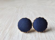 Navy blue studs fabric button earrings by NestBirdDesigns on Etsy