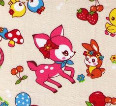Cosmo Textiles - Kawaii Animals - Deer Bird Squirrel Duck with Strawberries Cherries Mushrooms - Japanese Import Fabric