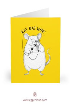 Rat singing UB40. Semi-glossy finish of these greeting cards adds a beautiful shine while the matching white envelopes create a complete package. This greeting card is from Animal Karaoke collection.