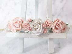 Flower crown - white and pink headpiece - white blush flower wedding hair accessories - floral hair wreaths for girls - garland
