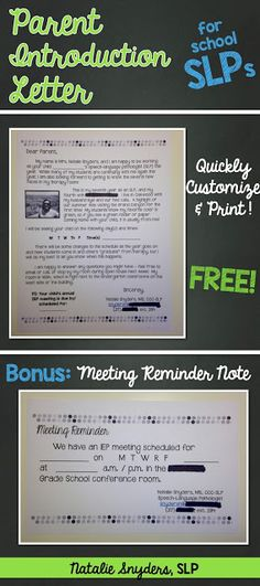 FREE: send home this quick and easy template for a parent introduction letter for busy school SLPs!