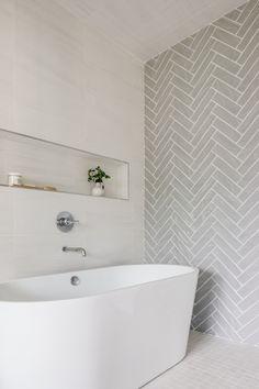 Loft Bathroom, Upstairs Bathrooms, Laundry In Bathroom, Bathroom Layout, Bathroom Shower Tiles, Tub In Shower, Master Shower Tile, Neutral Bathroom Tile, Modern Bathroom Tile