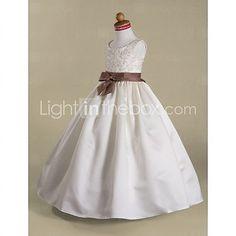 A-line/Princess/Ball Gown Floor-length Flower Girl Dress - Satin Sleeveless - USD $ 69.99