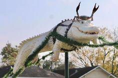 Only in Louisiana: 'Cajun Christmas' display of shrimp boat sleigh with 'reingators' returns - NOLA Weekend Morgan City, Shrimp Boat, Charlie Brown Christmas, Christmas Lights, Louisiana, Display, Animals, Christmas Fairy Lights, Floor Space