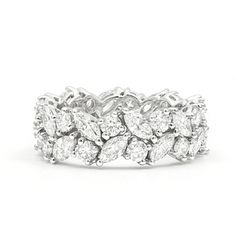 King Jewelers Platinum Marquise and Round Diamond Eternity Band