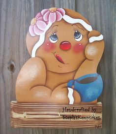 Handpainted Gingerbread Pot Holder/ Keys por stephskeepsakes, $21.95