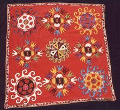 Suzani Embroidery: The Wertime Lakai Uzbek Large Embroidered Square 19th century