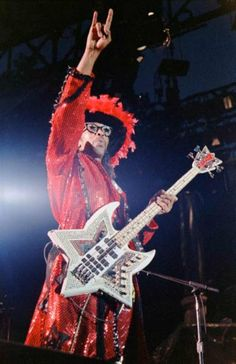 Bootsy Collins- Energetic, flamboyant, outrageous, and also one of the most talented, gifted bassists to ever slap a 4-stringer!  Scads of superb bass players have been inspired by Bootsy- be it from Parliament/Funkadelic, solo or Bootsy's Rubber Band, no one brings the Funk quite like Bootsy!