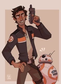 Poe with a BB-8 matching jacket.