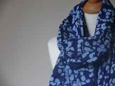 Anokhi Jade Green Cotton Scarf w//Silver Stamping