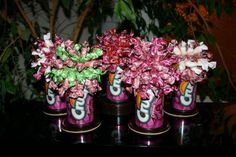 Soda cans candy bouquet.Candies