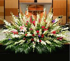 TTPOD83 Funeral Floral Arrangements, Tropical Flower Arrangements, Church Flower Arrangements, Beautiful Flower Arrangements, Beautiful Flowers, Church Wedding Flowers, Altar Flowers, Funeral Flowers, Altar Decorations