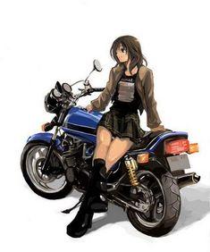 Anime Motorcycle Tomboy Photo by Sara_Shadow Comics Anime, 5 Anime, Anime Guys, Biker Chick, Biker Girl, Anime Motorcycle, Character Art, Character Design, Cafe Racer Girl